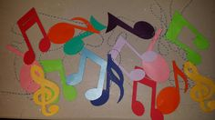 Colorful Music notes garland strands by CCreativeMind on Etsy