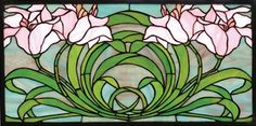 Features: -Framed in solid brass and has brass mounting bracket and chains included. -Tiffany collection. -Soft petal pink lilies atop spring green leaves form a circle on a sky of dusky blues. -N