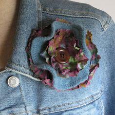 FABRIC BROOCH recycled teal wool pin Lynn by LynnMinneyDesigns