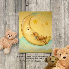 Bears Nursery Decor, Baby Nursery Wall Art, Sweet Dreams, Moon & Stars, Baby room decor, Art for nursery, Bears Nursery Art, Teddy bear art Nursery Wall Art, Nursery Decor, Bear Art, Baby Room Decor, Stars And Moon, Sweet Dreams, Wall Art Prints, Bears, Teddy Bear