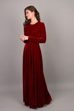 2bbec4fe7ca Buy Velvet Christmas dress on Livemaster online shop Red Bridesmaid Dresses