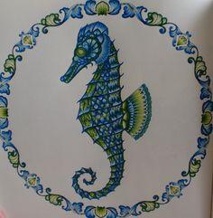 Fernanda Bnolles   Cavalo-marinho   Seahorse   Oceano Perdido   Lost Ocean   Johanna Basford   Livros de Colorir   Colouring Pages