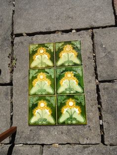 Other Makers, Set Of Six Arts & Crafts Floral Tiles. Attractive set of six Arts & Crafts floral tiles. Art Nouveau Flowers, Traditional Tile, Art Nouveau Tiles, Tile Art, Flower Prints, Craftsman, Art Decor, Arts And Crafts, Victorian