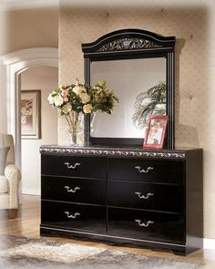 Constellations Traditional Black Wood Faux Stone Dresser