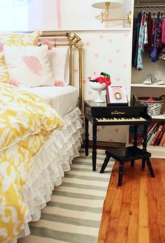 Toy Piano plays double duty as a Nightstand for a little girl's room