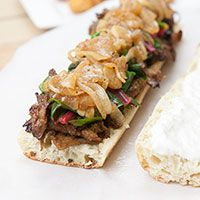 Maple Glazed Seitan Sandwiches w/ Beer-Braised Onions & Garlic, Swiss Chard, & Horseradish Cream - Vegan!