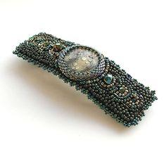 Hair piece dark green bead embroidered barrette hair от Eniya, €46.00