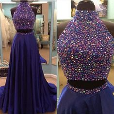 Charming Grape Two Pieces Prom Dress,Sexy Halter Evening
