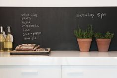 Such an amazing idea...Peel and Stick Chalkboard (wallpaper) to be used to cover your fridge, accent wall, backsplash, etc.  Love it!