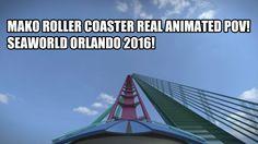 Mako Shark Roller Coaster SeaWorld Orlando 2016 REAL POV Animation