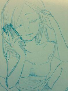 電話をする女性。  アナログ