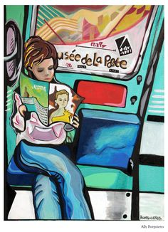 """""""Girl on the Train"""" original paintings and art by artist Ally Burguieres, 736 Royal Street, New Orleans, Louisiana, Gallery Burguieres at www.GalleryBurguieres.com"""