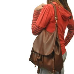 Handmade leather backpack,shoulder bag,messenger, named Daphne in Castagno brown, MADE TO ORDER by iyiamihandbags on Etsy