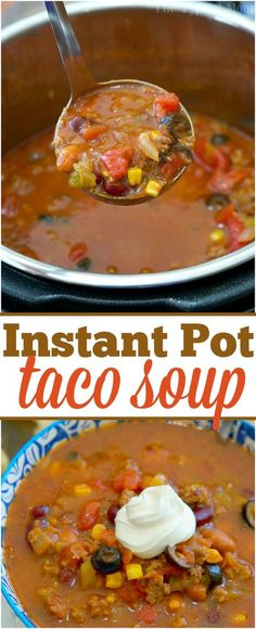 This easy Instant Pot taco soup recipe is perfect year round. Just 6 minutes in your pressure cooker, top with sour cream, and it's the perfect family meal! via @thetypicalmom