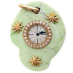 CARTIER PARIS Art Deco Jade Watch Pendant | From a unique collection of vintage pocket watches at https://www.1stdibs.com/jewelry/watches/pocket-watches/