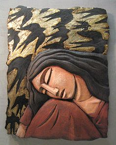 Sleeping Woman with Bird Screen: Steve Gardner: Ceramic Wall Art - Artful Home