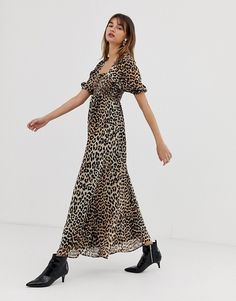 ASOS DESIGN shirred bustier maxi dress with puff sleeve in leopard print at  asos.com eaeece26a