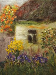 'In the warmth of September' - by Galina Lozovaya - (wool painting, fiber, textile art)