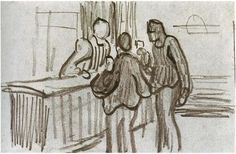 Men in Front of the Counter in a Cafe Vincent van Gogh Drawing, Pencil Auvers-sur-Oise: June - July , 1890