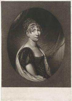 Charles Howard Hodges | Portret van Hortense Eugénie de Beauharnais, koningin van Holland, Charles Howard Hodges, 1806 - 1837 | Hortense Eugénie de Beauharnais met in het haar een parelketting. Ze werd in 1802 uitgehuwelijkt aan Lodewijk Napoleon en werd zo in 1806 koningin van Holland. Uit het huwelijk werden drie zoons geboren, onder wie de latere keizer Napoleon III.