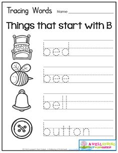 Tracing Words - Things that Start with A-Z Worksheets These worksheets are great for beginning letter recognition, letter formation, printing practice and vocabulary development. Cute graphics to go with each word! Shape Worksheets For Preschool, Writing Practice Worksheets, English Worksheets For Kids, Free Kindergarten Worksheets, 1st Grade Worksheets, Tracing Worksheets, Preschool Learning Activities, Alphabet Worksheets, Three Letter Words