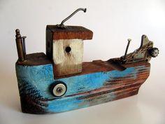 blue white ship