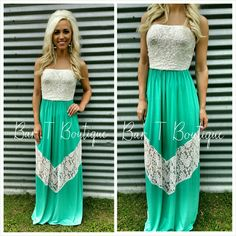 Mint Lacey Maxi Dress ~ Follow @bar_t_boutique on Instagram to Shop weekly New Arrivals
