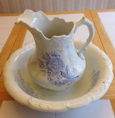 Vintage Large Pitcher and Wash Basin Bowl Antique White, Blue Floral Marked #Victorian