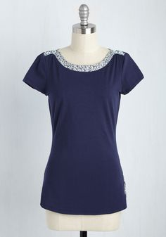 Life and Trim Top. Be prepared for whatever the world throws your way by wearing this cotton top! #blue #modcloth