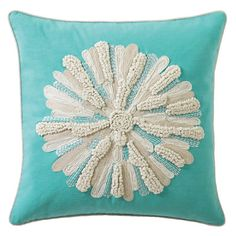 Asters in Aqua from Company C! A mix of richly textured embroidery stitches, from chunky loops to flat chain stitching, forms the petals of these three-dimensional ivory asters, each bursting forth from a brightly colored cotton ground. Floor Pillows, Accent Pillows, White Pillows, Azul Tiffany, Tiffany Blue, Pillow Fight, Pillow Talk, Pillow Room, Cotton Pillow