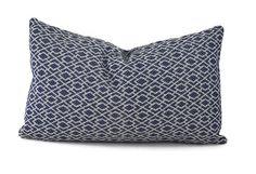 Navy Geometric Lumbar Pillow Cover Throw Pillow by ThePillowSpot