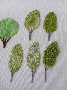 Along Stitch Lines - embroidered trees using different stitches for each example. Along Stitch Lines – embroidered trees using different stitches for each example. Cool idea for a Embroidery Needles, Silk Ribbon Embroidery, Crewel Embroidery, Cross Stitch Embroidery, Embroidery Books, Embroidery Alphabet, Simple Embroidery, Embroidery Tattoo, Creative Embroidery