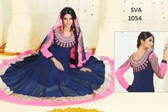 Buy Blue and Pink Faux Georgette Straight Salwar Suit, Designer Long Salwar Suit of the women are still fashion conscious thus this Salwar Suit has seen various changes in terms of designs, style, and patterns. Glamour Beauty designer Salwar Suit collections are always liked by women in Indian Style. www.suitsvilla.com/
