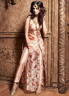 Peach Silk Straight Pant Suit