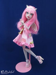 Sunday Rochelle Ooak Doll from Dollighftul.storenvy.com! #pink #reroot #doll #shoes #dress #clothes #custom
