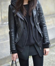 This is it! Love. Women. Clothing. Fashion. Black & Black. Layers. Autumn. Leather. Materials. Details. Street. Attitude. Express. Dark. Beauty. True Style. Tough. +1