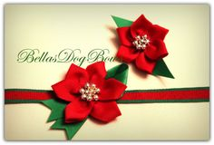 Poinsettia Bow Set for Christmas Holiday Hair Bow by BellasDogBows, $19.99