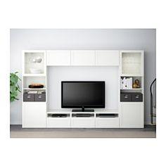 "BESTÅ TV storage combination/glass doors - Hanviken/Sindvik white clear glass, drawer runner, soft-closing, 118 1/8x15 3/4x75 5/8 "" - IKEA"