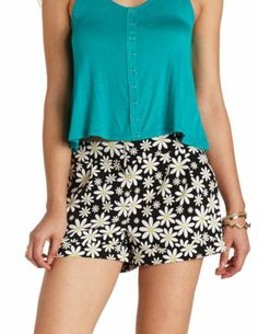 Cuffed Daisy Floral Print Shorts: Charlotte Russe