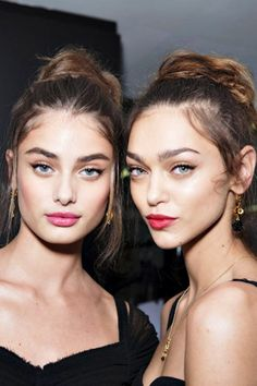 models-fashion111:  Taylor Marie Hill and Zhenya Katava backstage at Dolce &…