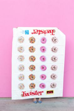 In need of a sweet weekend project? This DIY donut Twister game mat is sure to inspire hours of family-friendly fun! Donut Birthday Parties, Donut Party, Sleepover Party, Birthday Party Themes, Pajama Party, Birthday Ideas, Themed Parties, 5th Birthday, Donut Games