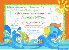 fishing baby shower ideas orange fishies baby shower invitation