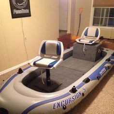Fishing boat made out of inflatable raft diy