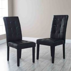 Finley Home Martha Bonded Leather Parsons Dining Chair - Set of Black, Wood Parsons Dining Chairs, Tufted Dining Chairs, Modern Dining Chairs, Dining Chair Set, Black Kitchen Chairs, Leather Dining Room Chairs, Kitchen Wood, Buy Kitchen, Leather Chairs