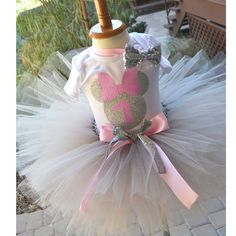 Pink and Silver First Birthday Minnie mouse outfit, Silver and Pink tutu, cake smash, first birthday Minnie mouse dress by GABYROBBINSDESIGNS on Etsy