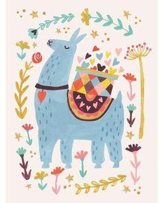 Oopsy Daisy Fine Art For Kids Blue Llama by Irene Chan Canvas Art