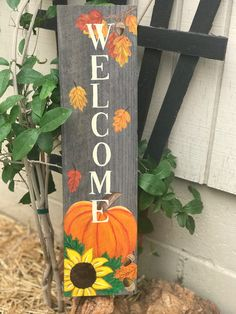 Wood Pallet Art, Pallet Painting, Wood Pallets, Fall Pallet Signs, Fall Wood Signs, Pallet Christmas Tree, Christmas Signs, Fall Wood Crafts, Wooden Welcome Signs