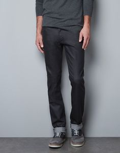 RESIN-EFFECT SATIN JEANS - Trousers - Basics - Man - ZARA