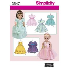 """Simplicity sewing pattern 3547 Elaine Heigl designs 18"""" doll clothes fancy party dress gown American Girl AG dolls by SewLizziPatterns on Etsy"""