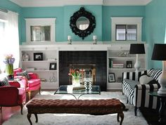 Best Home Interior Design: Living Room Feng Shui Tips - Best Home interior design, home decorations photo and pictures, home design trends, and contemporary world architecture news inspiration to your home. House Of Turquoise, Living Room Turquoise, Colourful Living Room, Eclectic Living Room, Living Room Designs, Turquoise Walls, Living Rooms, Pink Turquoise, Living Area